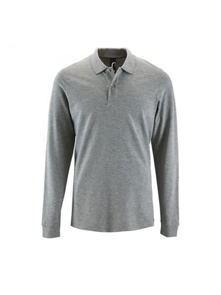 Рубашка поло мужская с длинным рукавом PERFECT LSL MEN, серый меланж