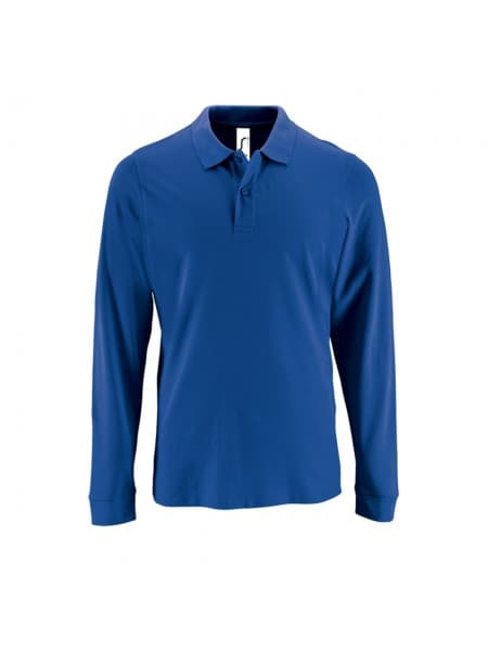 Рубашка поло мужская с длинным рукавом PERFECT LSL MEN, ярко-синяя