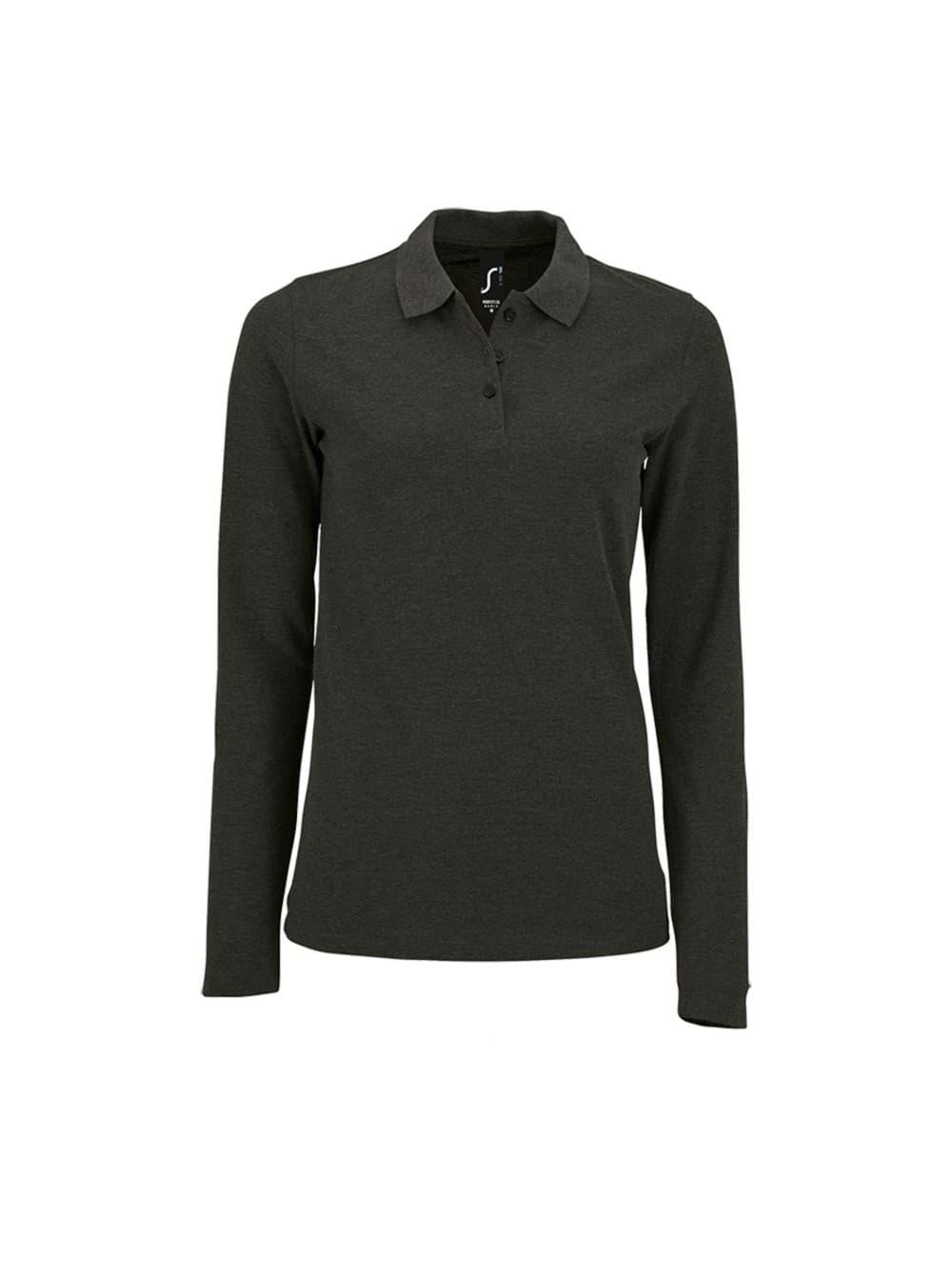 93b7d7e57b69 Рубашка поло женская с длинным рукавом PERFECT LSL WOMEN, черный меланж