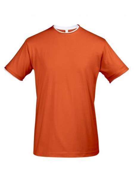Футболка мужская с контрастной отделкой MADISON 170, оранжевый/белый