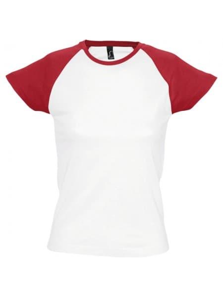 Футболка женская MILKY 150, белая с красным