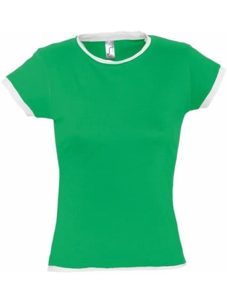 Футболка женская MOOREA 170, ярко-зеленая с белой отделкой