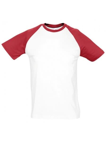 Футболка мужская двухцветная FUNKY 150, белая с красным