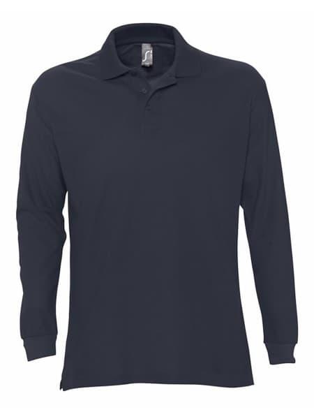Рубашка поло мужская с длинным рукавом STAR 170, темно-синяя