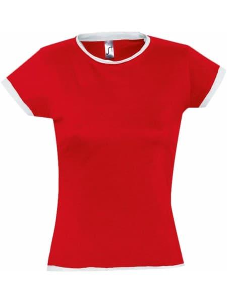 Футболка женская MOOREA 170, красная с белой отделкой