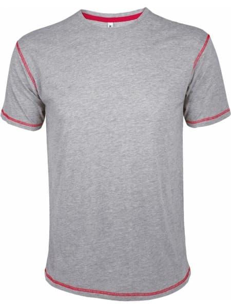 Футболка мужская с контрастной отделкой MUSTANG 150, серый меланж c красным