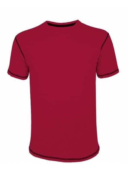 Футболка мужская с контрастной отделкой MUSTANG 150, красная с черным