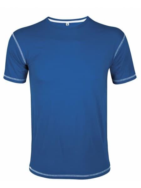 Футболка мужская с контрастной отделкой MUSTANG 150, ярко-синяя с белым