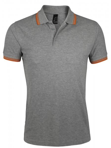 Рубашка поло мужская PASADENA MEN 200 с контрастной отделкой, серый меланж c оранжевым