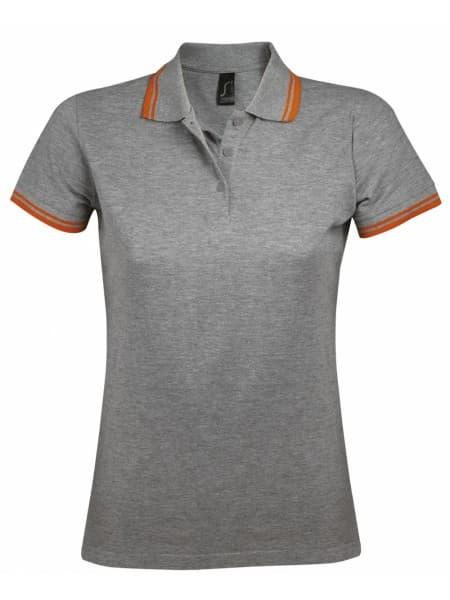 Рубашка поло женская PASADENA WOMEN 200 с контрастной отделкой, серый меланж c оранжевым
