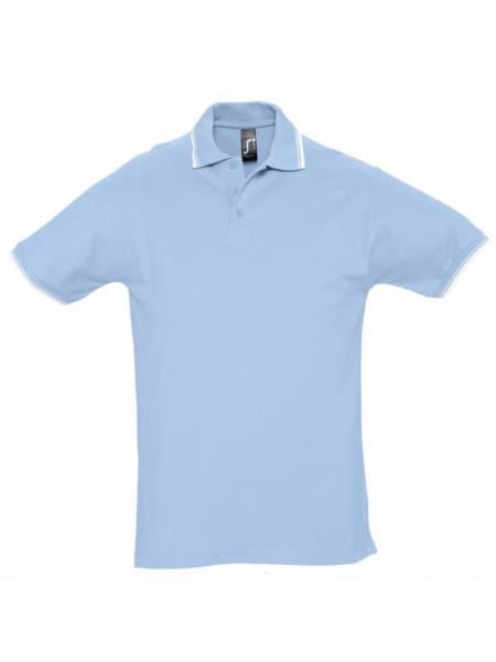 Рубашка поло мужская с контрастной отделкой PRACTICE 270, голубой/белый