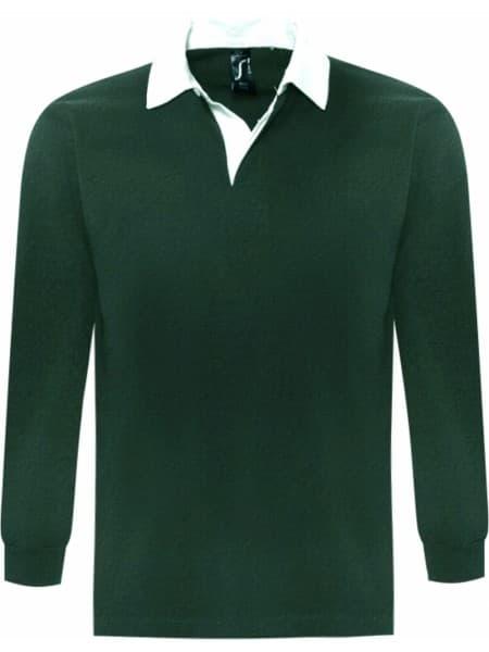 Рубашка поло мужская с длинным рукавом PACK 280 темно-зеленая
