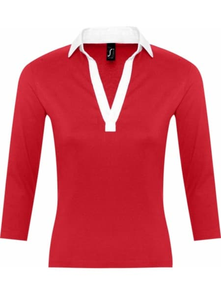Рубашка поло женская с рукавом 3/4 PANACH 190 красная