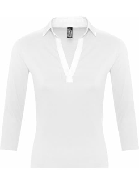 Рубашка поло женская с рукавом 3/4 PANACH 190 белая