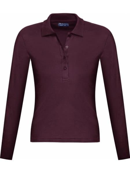 Рубашка поло женская с длинным рукавом PODIUM 210 бордовая