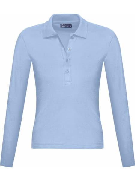 Рубашка поло женская с длинным рукавом PODIUM 210 голубая