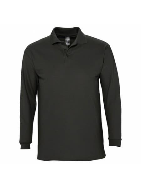 Рубашка поло мужская с длинным рукавом WINTER II 210 черная
