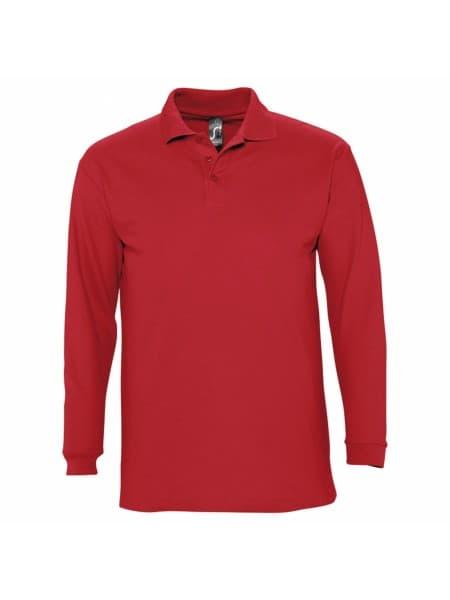 Рубашка поло мужская с длинным рукавом WINTER II 210 красная