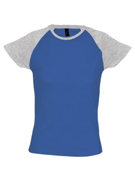 Футболка женская MILKY 150, ярко-синяя с серым меланжем