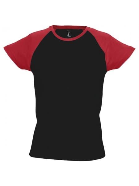 Футболка женская MILKY 150, черная с красным