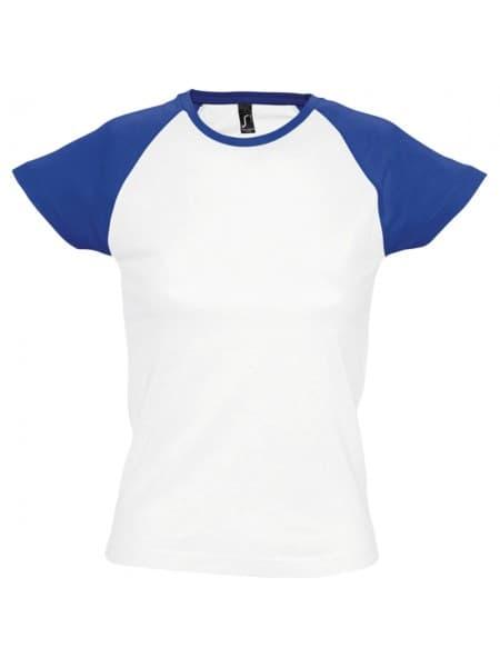 Футболка женская MILKY 150, белая с ярко-синим