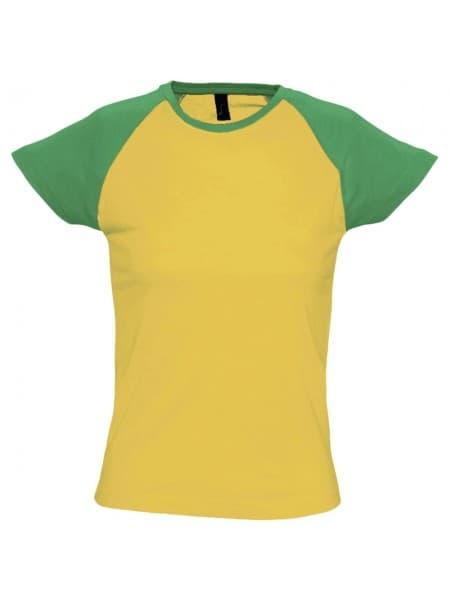 Футболка женская MILKY 150, желтая с зеленым