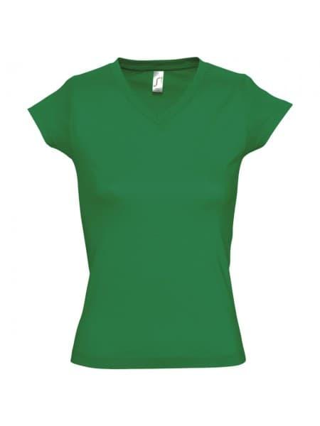 Футболка женская c V-образным вырезом MOON 150, ярко-зеленая