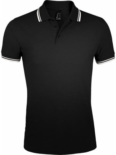 Рубашка поло мужская PASADENA MEN 200 с контрастной отделкой, черная с белым