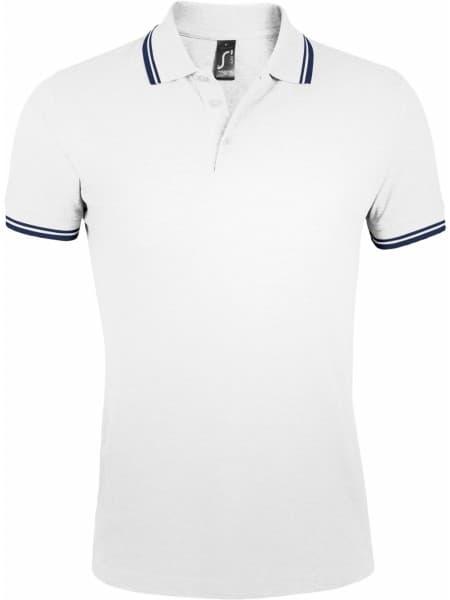 Рубашка поло мужская PASADENA MEN 200 с контрастной отделкой, белая с синим