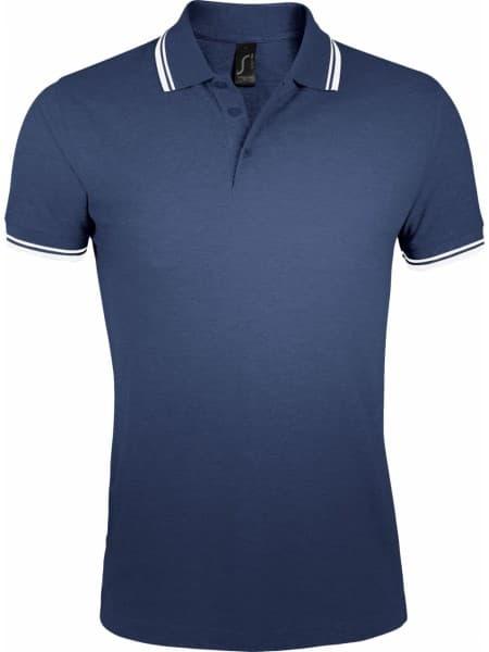 Рубашка поло женская PASADENA WOMEN 200 с контрастной отделкой, темно-синяя с белым