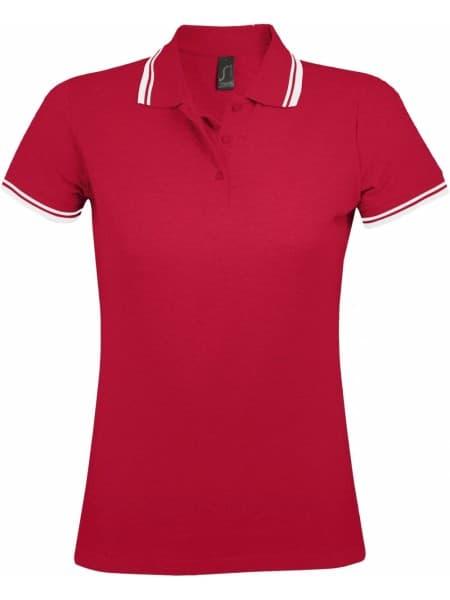 Рубашка поло женская PASADENA WOMEN 200 с контрастной отделкой, красная с белым