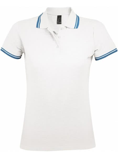 Рубашка поло женская PASADENA WOMEN 200 с контрастной отделкой, белая с голубым