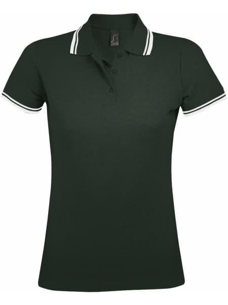 Рубашка поло женская PASADENA WOMEN 200 с контрастной отделкой, зеленая с белым
