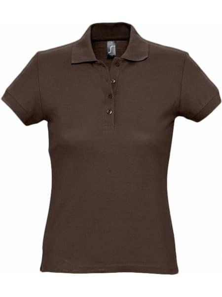 Рубашка поло женская PASSION 170, шоколадно-коричневая
