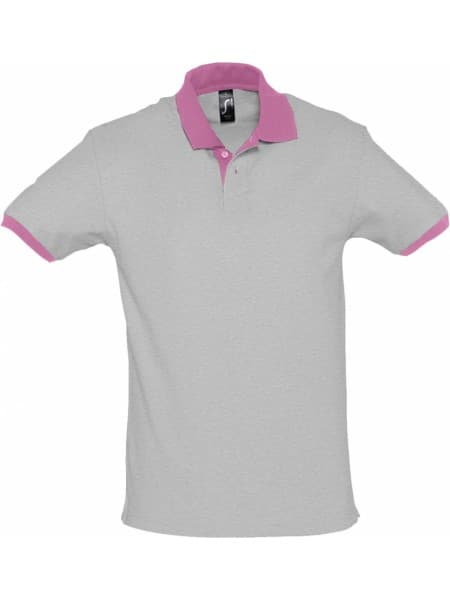 Рубашка поло Prince 190, серый меланж с розовым