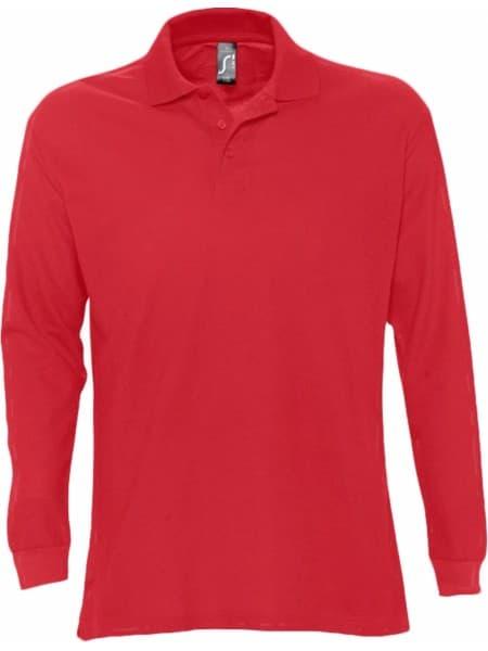 Рубашка поло мужская с длинным рукавом STAR 170, красная