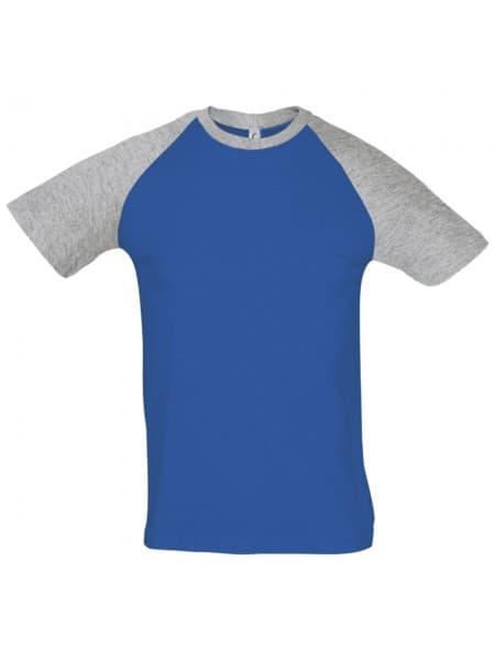 Футболка мужская двухцветная FUNKY 150, ярко-синяя с серым меланжем