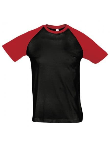 Футболка мужская двухцветная FUNKY 150, черная с красным