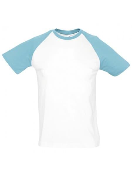Футболка мужская двухцветная FUNKY 150, белая с голубым