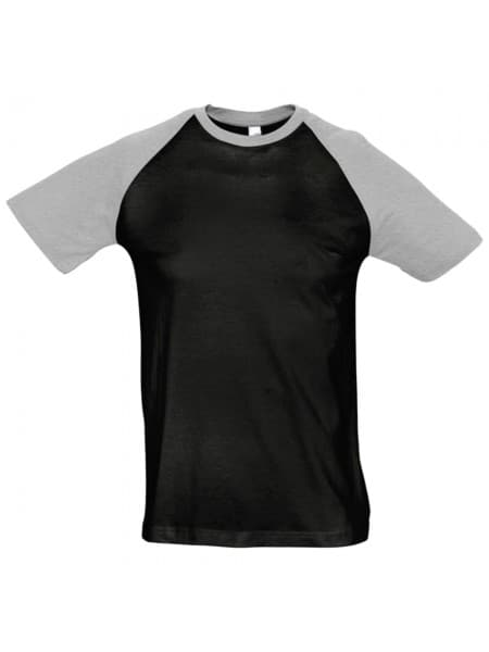 Футболка мужская двухцветная FUNKY 150, черная с серым меланжем