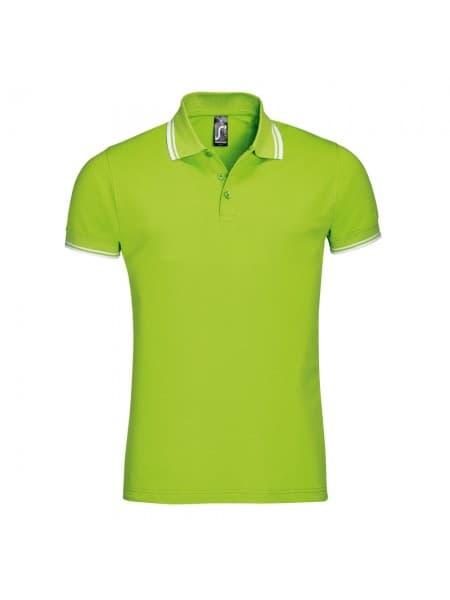 Рубашка поло мужская PASADENA MEN 200 с контрастной отделкой, зеленый лайм с белым