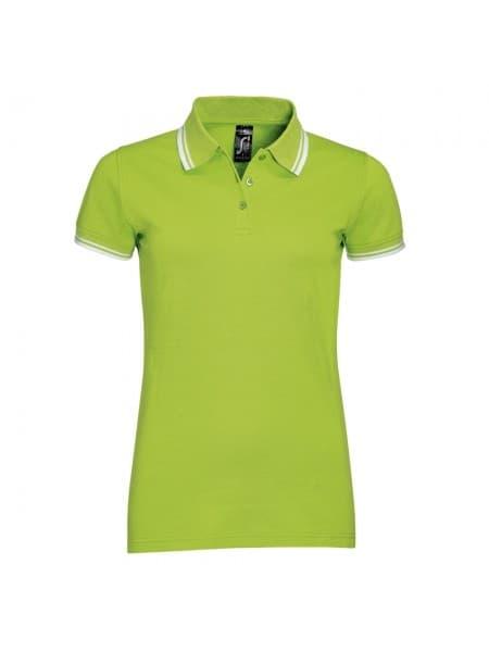Рубашка поло женская PASADENA WOMEN 200 с контрастной отделкой, зеленый лайм с белым