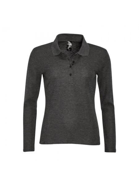Рубашка поло женская с длинным рукавом PODIUM черный меланж