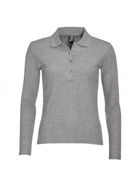 Рубашка поло женская с длинным рукавом PODIUM серый меланж