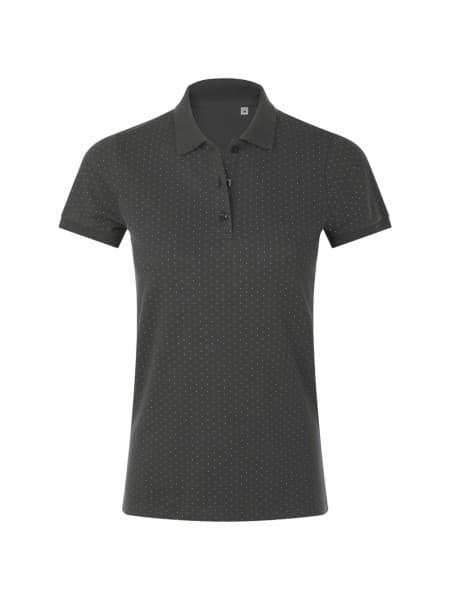 Рубашка поло женская BRANDY WOMEN, темно-серая с белым