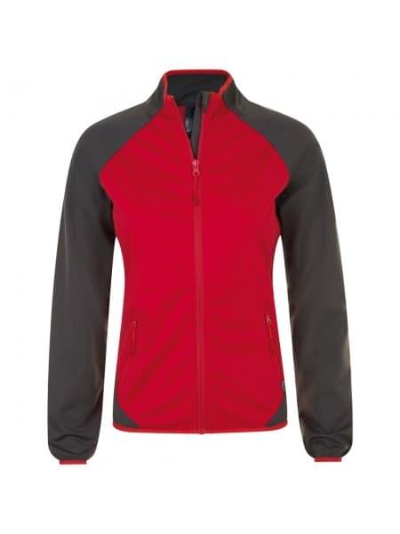 Куртка софтшелл женская ROLLINGS WOMEN, красная с серым