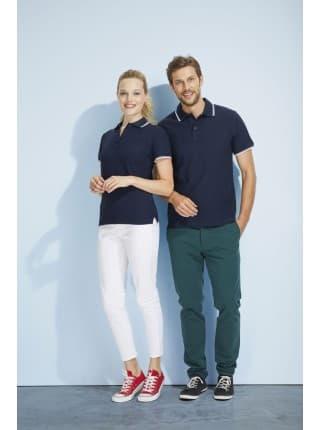 Рубашка поло мужская с контрастной отделкой PRACTICE 270, белый/темно-синий