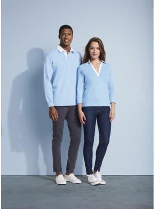 Рубашка поло женская с рукавом 3/4 PANACH 190 голубая
