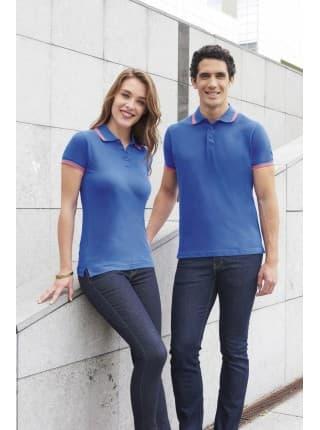 Рубашка поло мужская PASADENA MEN 200 с контрастной отделкой, белая с голубым