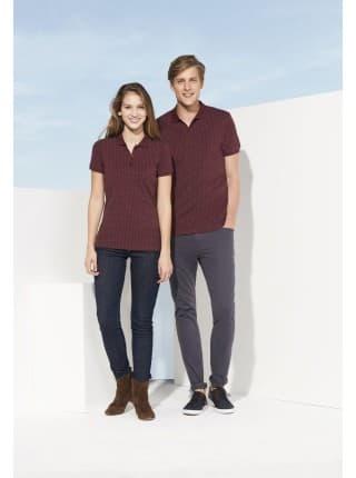 Рубашка поло мужская BRANDY MEN, темно-серая с белым